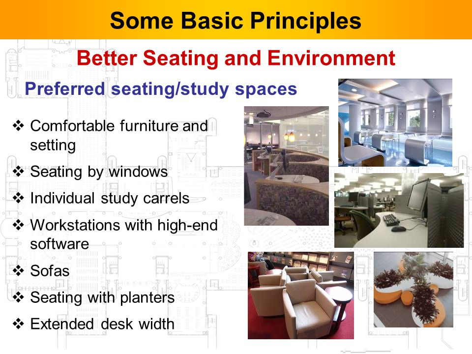 11 Better Seating and Environment Comfortable furniture and setting Seating by windows Individual study carrels Workstations with high-end software Sofas Seating with planters Extended desk width Some Basic Principles Preferred seating/study spaces