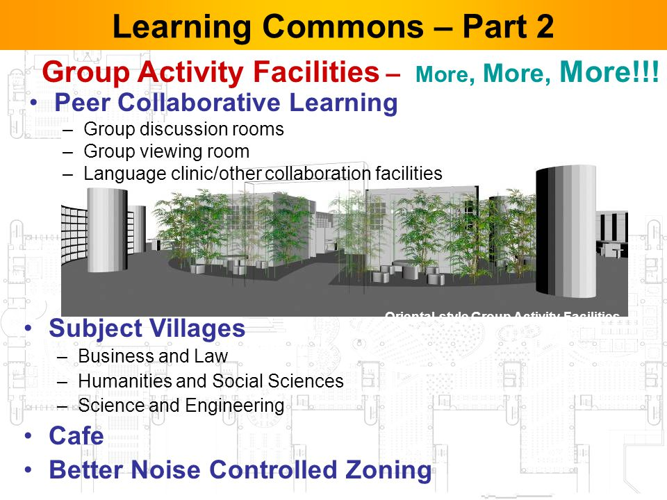 34 Learning Commons – Part 2 Peer Collaborative Learning –Group discussion rooms –Group viewing room –Language clinic/other collaboration facilities Subject Villages –Business and Law –Humanities and Social Sciences –Science and Engineering Cafe Better Noise Controlled Zoning Oriental-style Group Activity Facilities Group Activity Facilities – More, More, More!!!