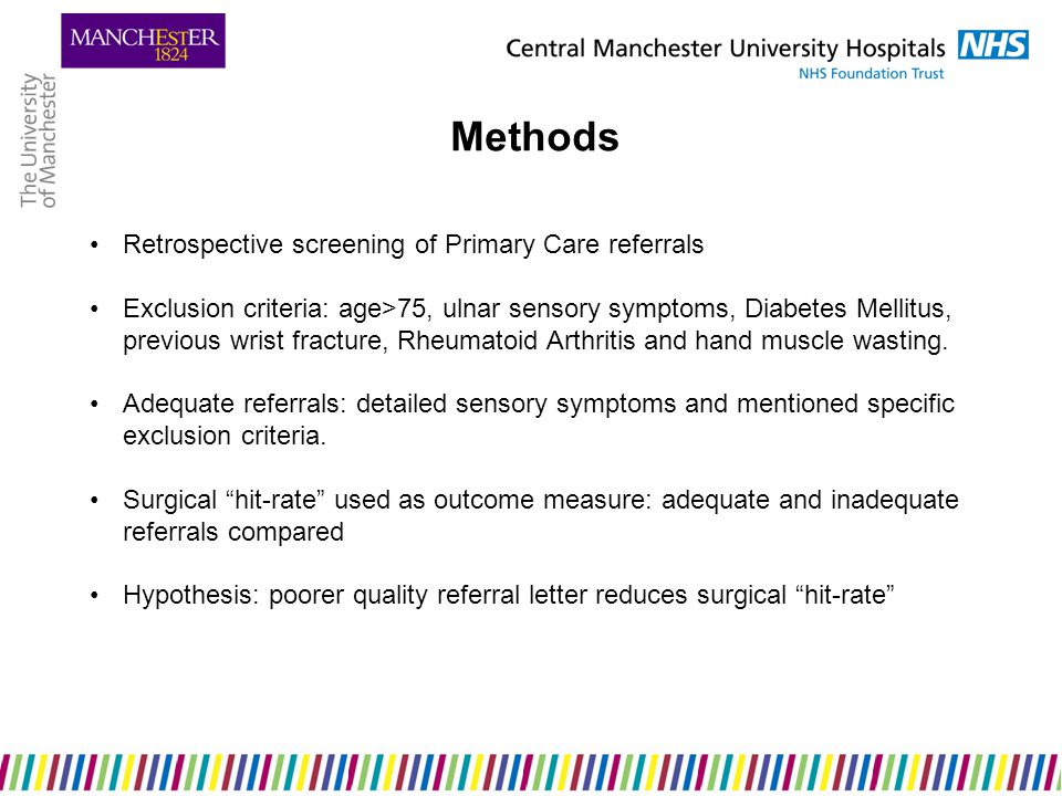 Results 18/58 adequate referrals (31%) 9 patients opted for conservative management