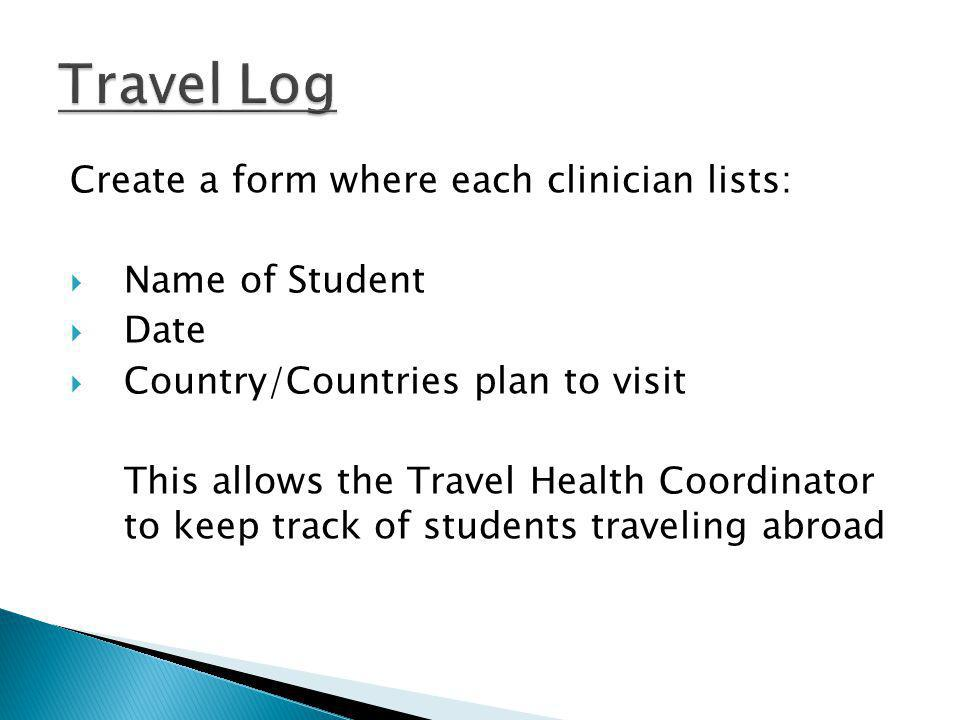Create a form where each clinician lists: Name of Student Date Country/Countries plan to visit This allows the Travel Health Coordinator to keep track of students traveling abroad