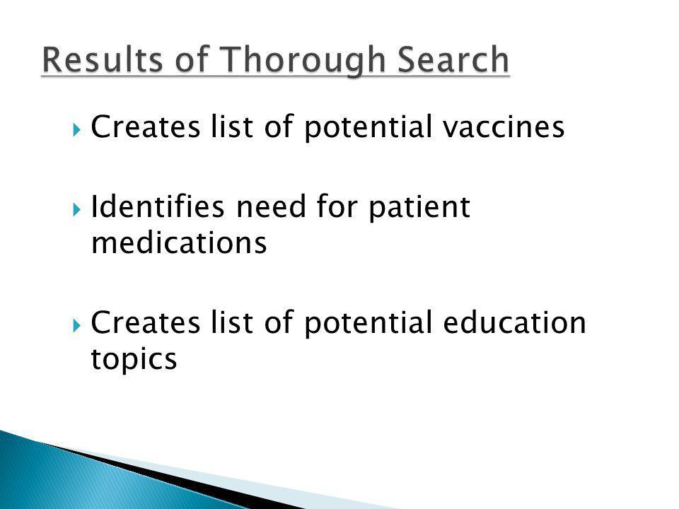 Creates list of potential vaccines Identifies need for patient medications Creates list of potential education topics