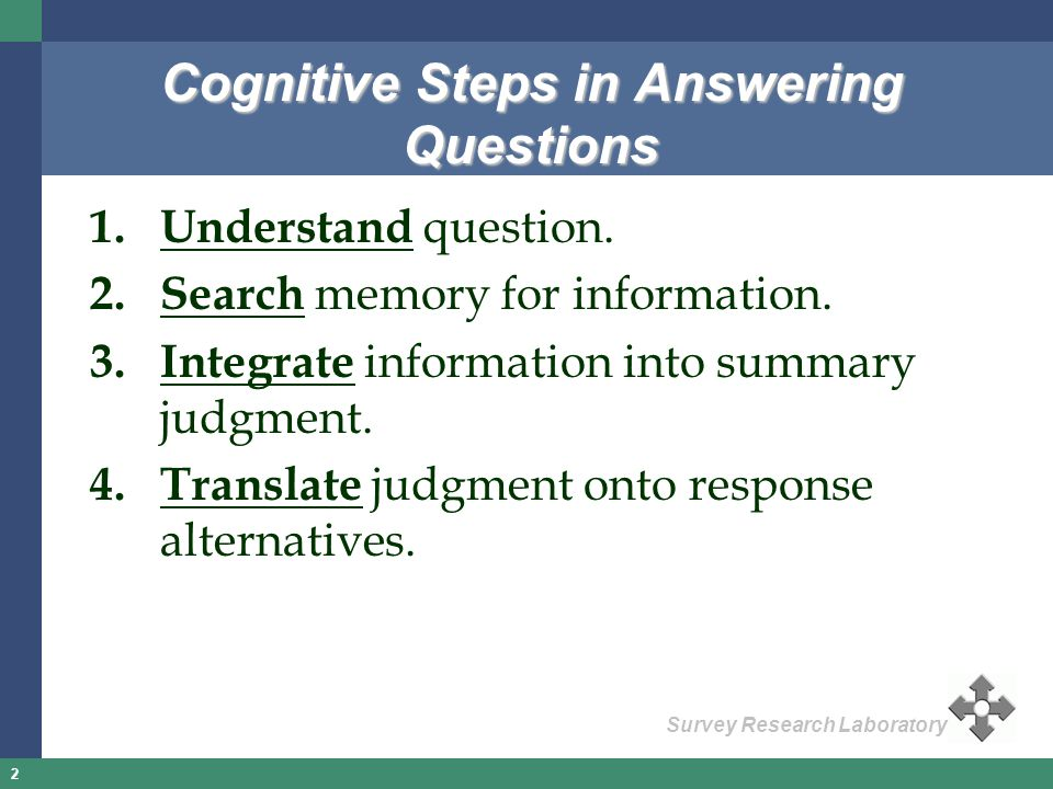 2 Survey Research Laboratory Cognitive Steps in Answering Questions 1.Understand question. 2.Search memory for information. 3.Integrate information in