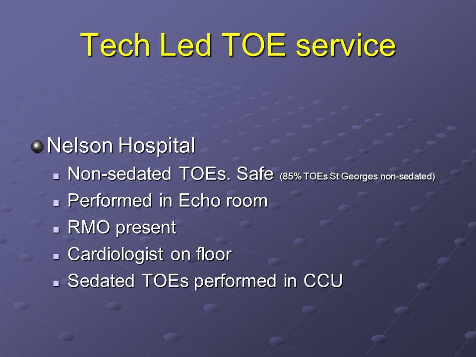 Tech Led TOE service Nelson Hospital Non-sedated TOEs.