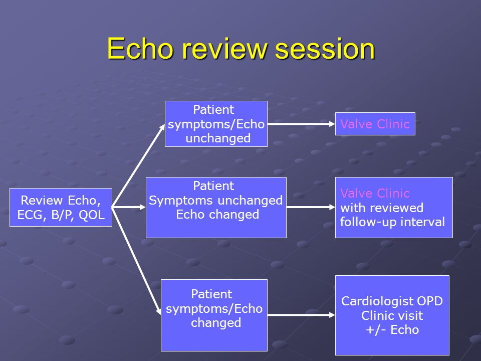 Echo review session Review Echo, ECG, B/P, QOL Valve Clinic with reviewed follow-up interval Valve Clinic Patient symptoms/Echo unchanged Cardiologist OPD Clinic visit +/- Echo Patient symptoms/Echo changed Patient Symptoms unchanged Echo changed