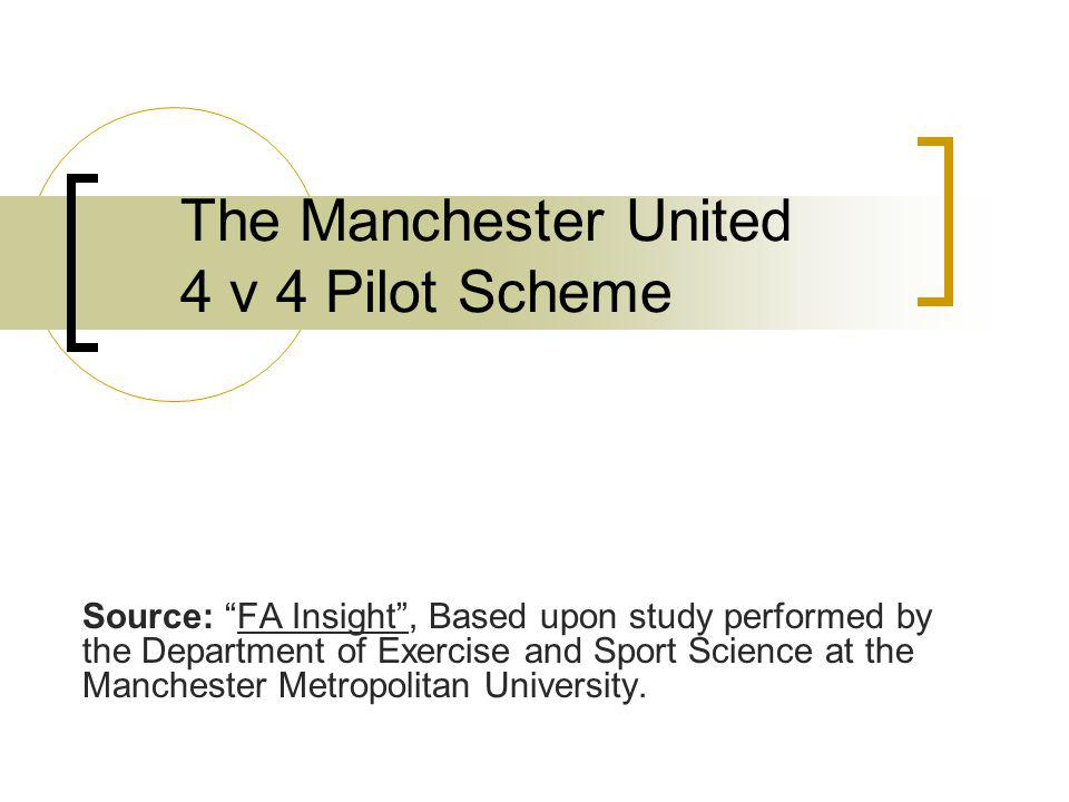 The Manchester United 4 v 4 Pilot Scheme Source: FA Insight, Based upon study performed by the Department of Exercise and Sport Science at the Manchester Metropolitan University.