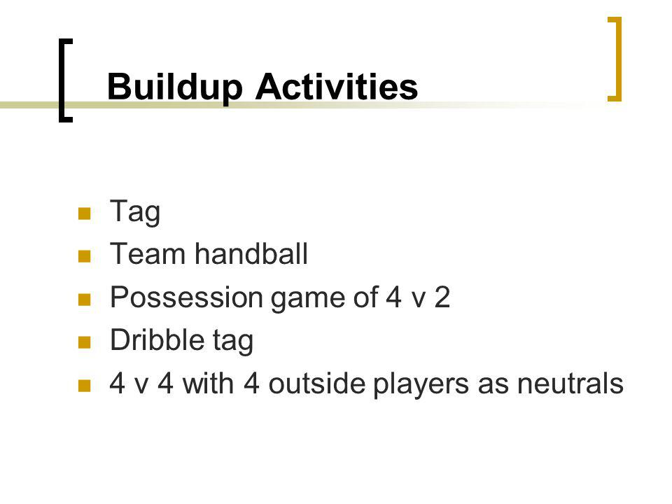 Buildup Activities Tag Team handball Possession game of 4 v 2 Dribble tag 4 v 4 with 4 outside players as neutrals