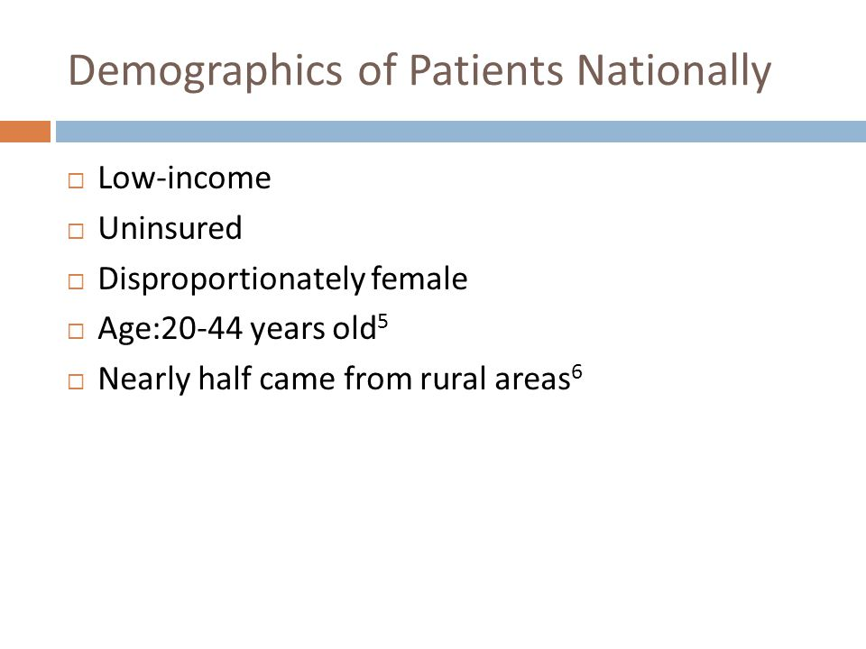 Demographics of Patients Nationally Low-income Uninsured Disproportionately female Age:20-44 years old 5 Nearly half came from rural areas 6