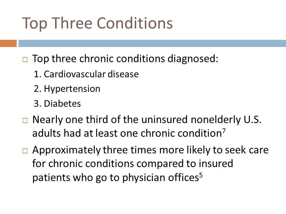 Top Three Conditions Top three chronic conditions diagnosed: 1.
