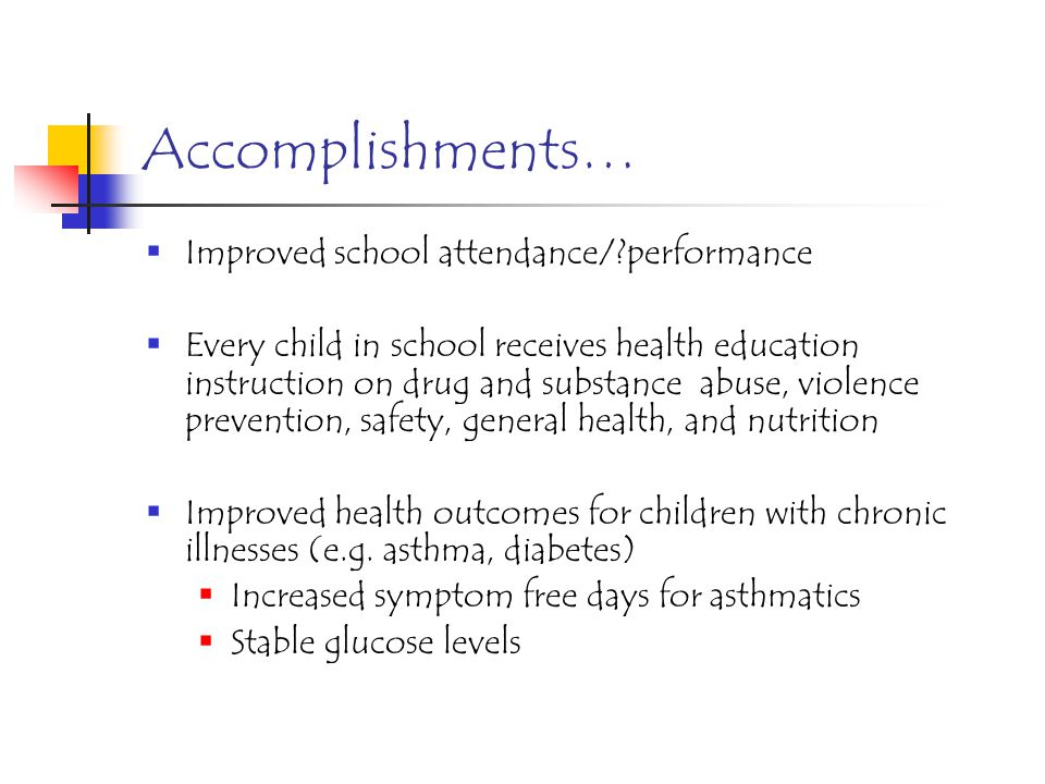 Accomplishments Increased access to medical and dental health care Provided medical care to over 4500 students since 1995 Medical home to over 1200 ch
