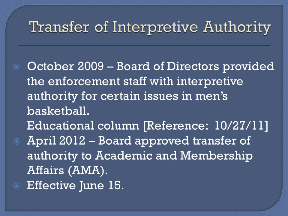 October 2009 – Board of Directors provided the enforcement staff with interpretive authority for certain issues in mens basketball.