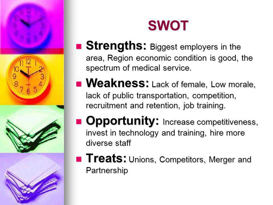 SWOT Strengths: Biggest employers in the area, Region economic condition is good, the spectrum of medical service.