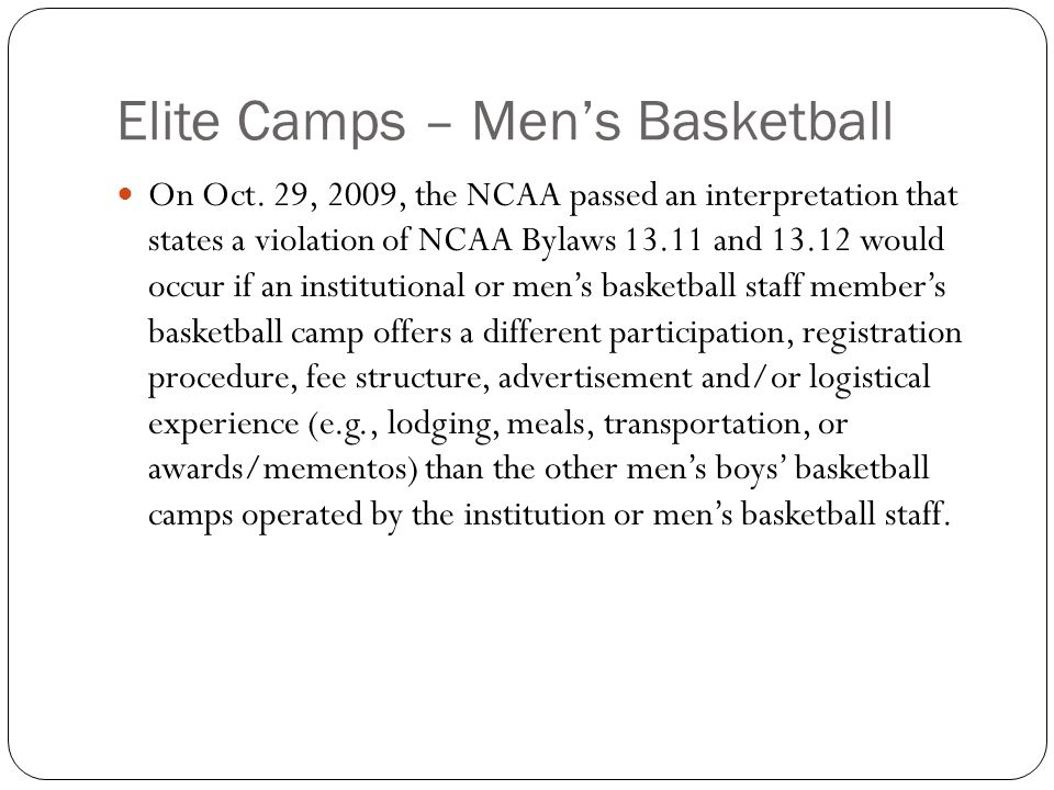 Elite Camps – Mens Basketball On Oct.