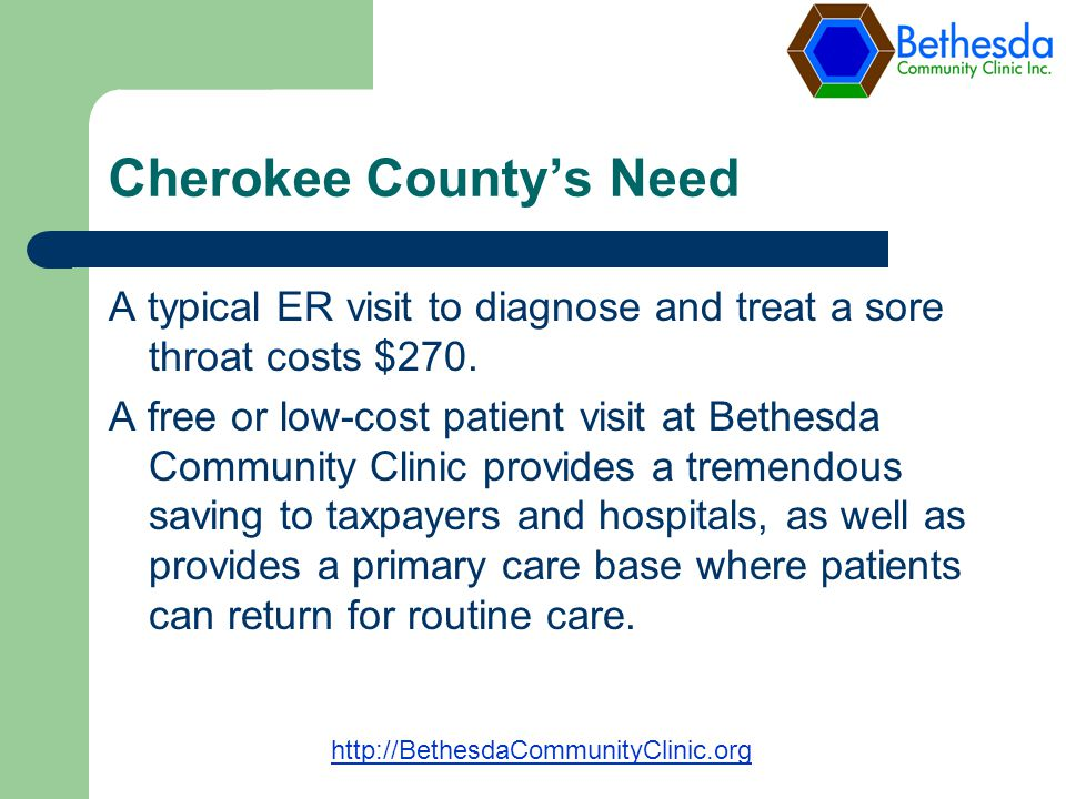 Cherokee Countys Need A typical ER visit to diagnose and treat a sore throat costs $270.