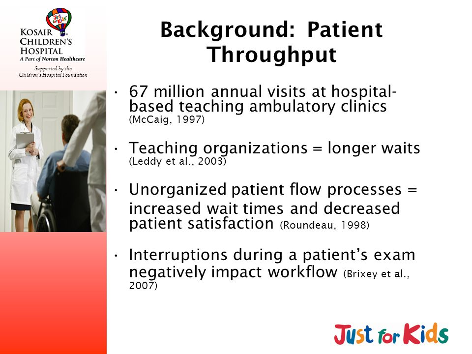 Supported by the Childrens Hospital Foundation Background: Patient Throughput 67 million annual visits at hospital- based teaching ambulatory clinics (McCaig, 1997) Teaching organizations = longer waits (Leddy et al., 2003) Unorganized patient flow processes = increased wait times and decreased patient satisfaction (Roundeau, 1998) Interruptions during a patients exam negatively impact workflow (Brixey et al., 2007)