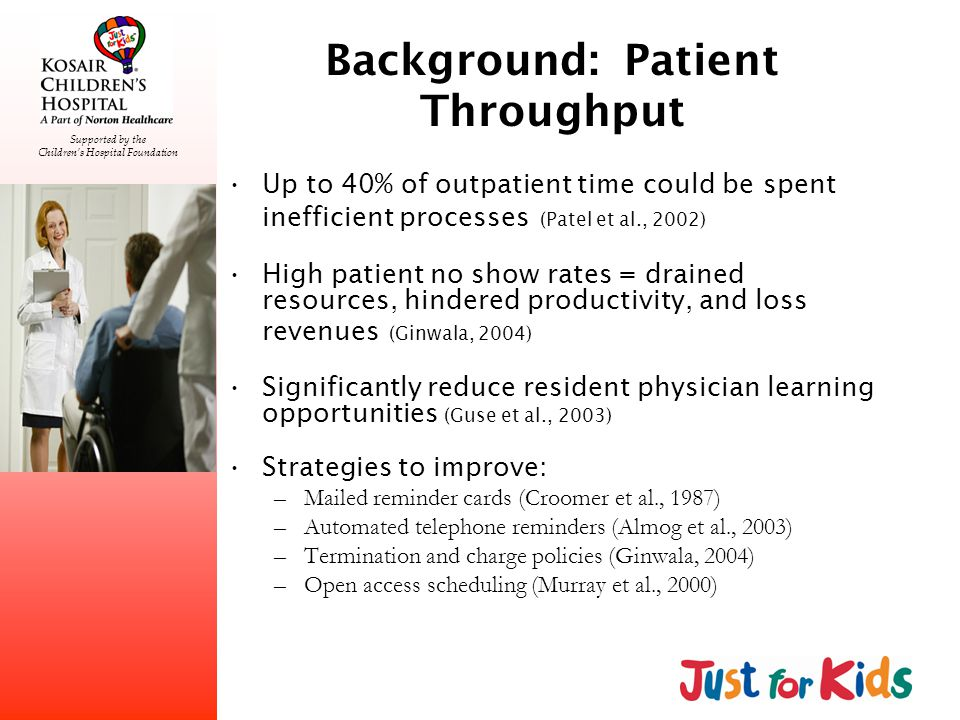 Supported by the Childrens Hospital Foundation Background: Patient Throughput Up to 40% of outpatient time could be spent inefficient processes (Patel et al., 2002) High patient no show rates = drained resources, hindered productivity, and loss revenues (Ginwala, 2004) Significantly reduce resident physician learning opportunities (Guse et al., 2003) Strategies to improve: –Mailed reminder cards (Croomer et al., 1987) –Automated telephone reminders (Almog et al., 2003) –Termination and charge policies (Ginwala, 2004) –Open access scheduling (Murray et al., 2000)