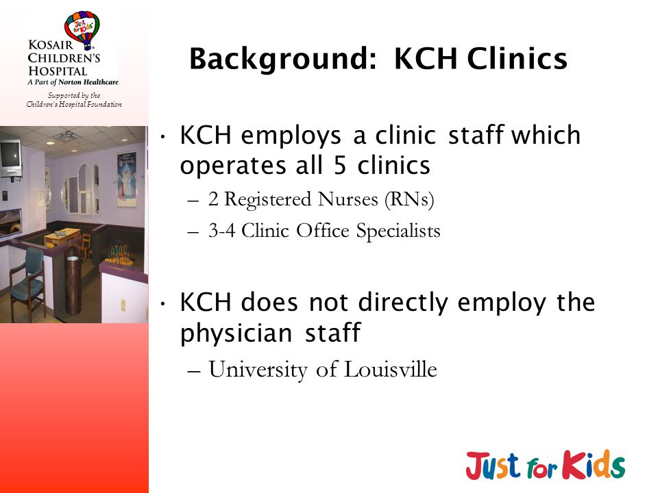 Supported by the Childrens Hospital Foundation Recommendations Develop physician arrival policy –No longer does clinic start in the morning…clinic starts at 8:30am Waiting room rounding Monitor new chart flow process and analyze its impact to total visit time