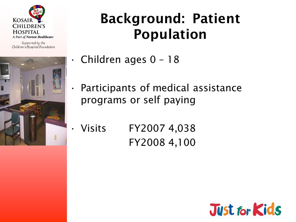 Supported by the Childrens Hospital Foundation Background: Patient Population Children ages 0 – 18 Participants of medical assistance programs or self paying VisitsFY2007 4,038 FY2008 4,100