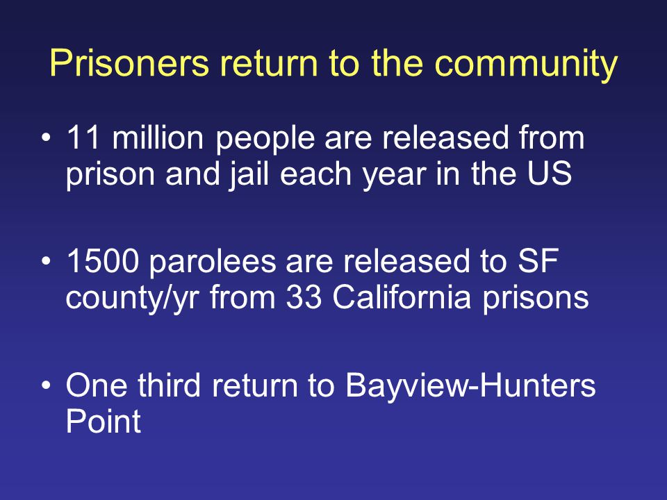 Prisoners return to the community 11 million people are released from prison and jail each year in the US 1500 parolees are released to SF county/yr from 33 California prisons One third return to Bayview-Hunters Point