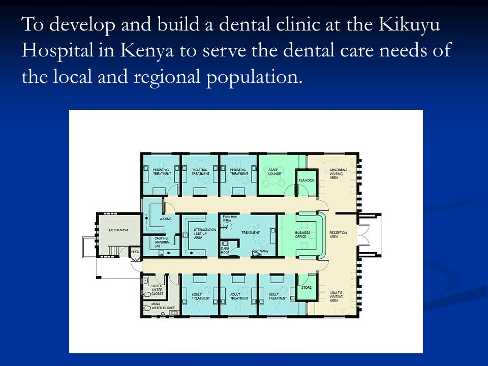 To develop and build a dental clinic at the Kikuyu Hospital in Kenya to serve the dental care needs of the local and regional population.