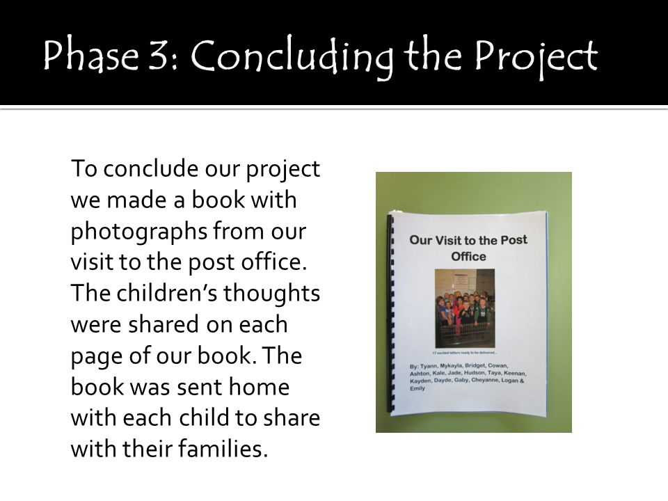 To conclude our project we made a book with photographs from our visit to the post office.