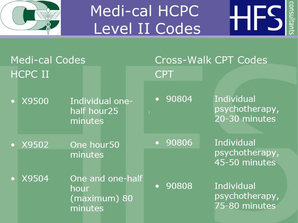 Medi-cal HCPC Level II Codes Medi-cal Codes HCPC II X9500Individual one- half hour25 minutes X9502One hour50 minutes X9504One and one-half hour (maximum) 80 minutes Cross-Walk CPT Codes CPT 90804 Individual psychotherapy, 20-30 minutes 90806Individual psychotherapy, 45-50 minutes 90808 Individual psychotherapy, 75-80 minutes