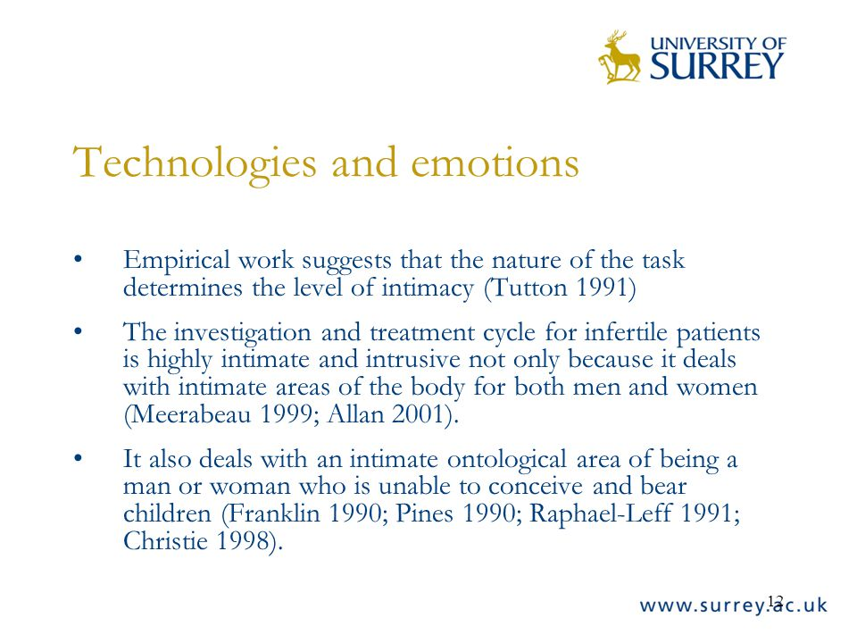 12 Technologies and emotions Empirical work suggests that the nature of the task determines the level of intimacy (Tutton 1991) The investigation and treatment cycle for infertile patients is highly intimate and intrusive not only because it deals with intimate areas of the body for both men and women (Meerabeau 1999; Allan 2001).