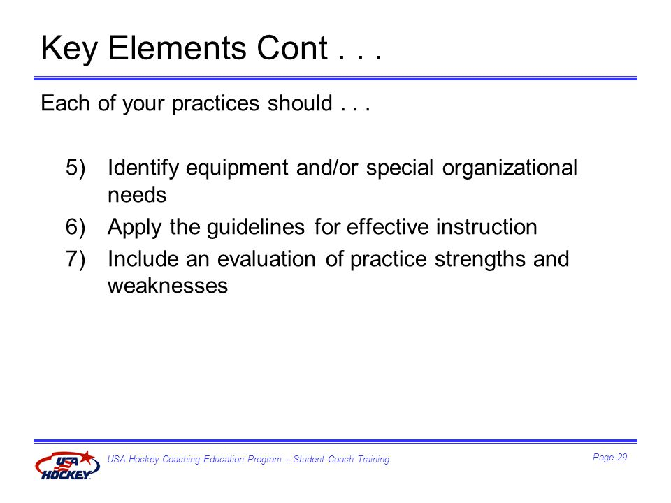 USA Hockey Coaching Education Program – Student Coach Training Page 29 Key Elements Cont...