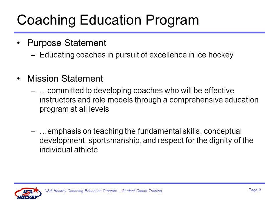 USA Hockey Coaching Education Program – Student Coach Training Page 20