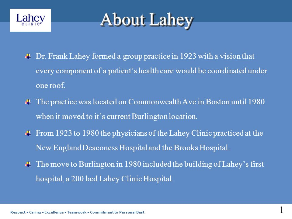 About Lahey In 1990 the Hospital expanded adding 72 beds.
