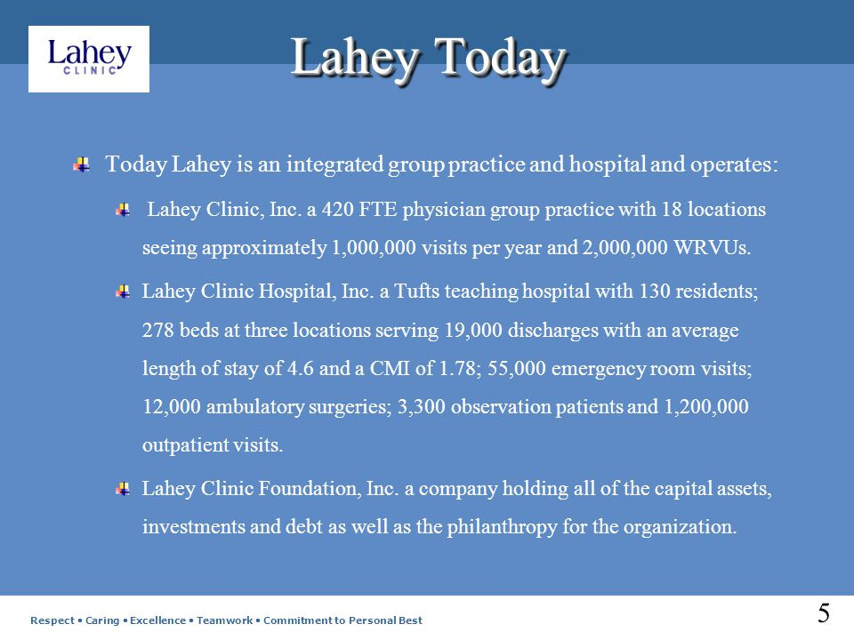 Lahey Today Today Lahey is an integrated group practice and hospital and operates: Lahey Clinic, Inc.