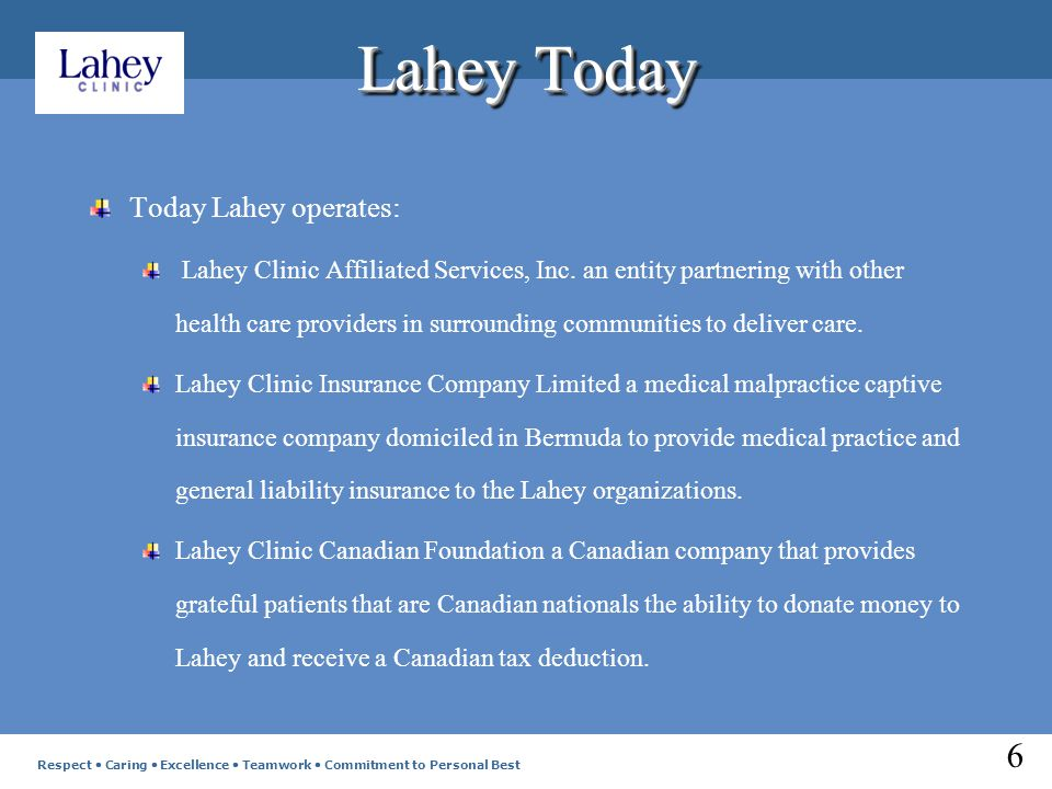 Lahey Today Today Lahey operates: Lahey Clinic Affiliated Services, Inc.