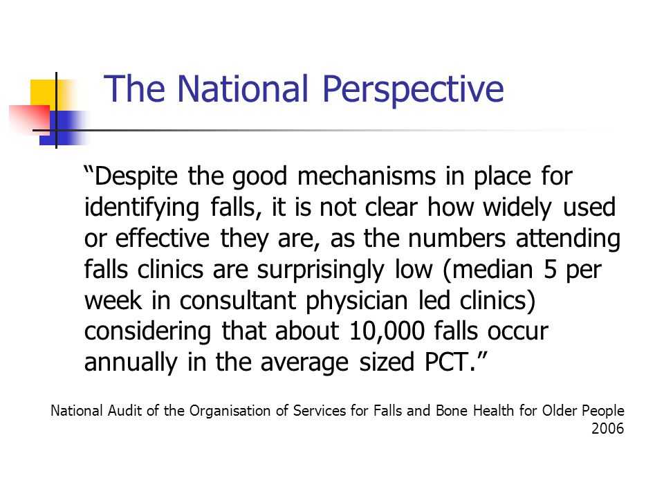 Despite the good mechanisms in place for identifying falls, it is not clear how widely used or effective they are, as the numbers attending falls clinics are surprisingly low (median 5 per week in consultant physician led clinics) considering that about 10,000 falls occur annually in the average sized PCT.