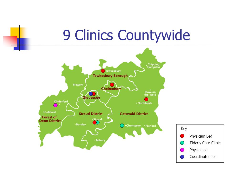 9 Clinics Countywide Physician Led Elderly Care Clinic Physio Led Coordinator Led Key
