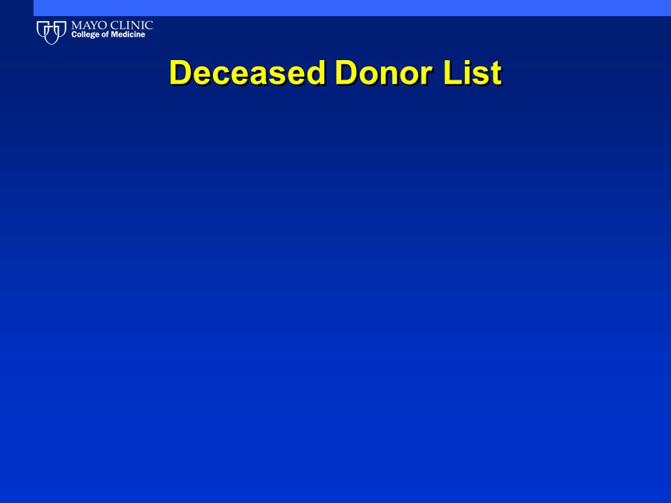 Deceased Donor List
