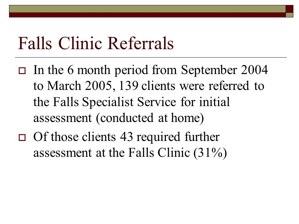 Analysis of Falls Clinic Waiting List In March 2005, 28 clients were on the Falls Clinic waiting list for initial assessment with an additional 4 requiring medical review 6 had been waiting 3 months or less (21%) 18 had been waiting between 3 and 6 months (64%) 4 had been waiting greater then 6 months (14%)
