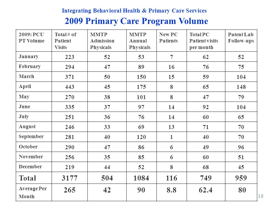 18 2009 Primary Care Program Volume Integrating Behavioral Health & Primary Care Services 2009: PCU PT Volume Total # of Patient Visits MMTP Admission