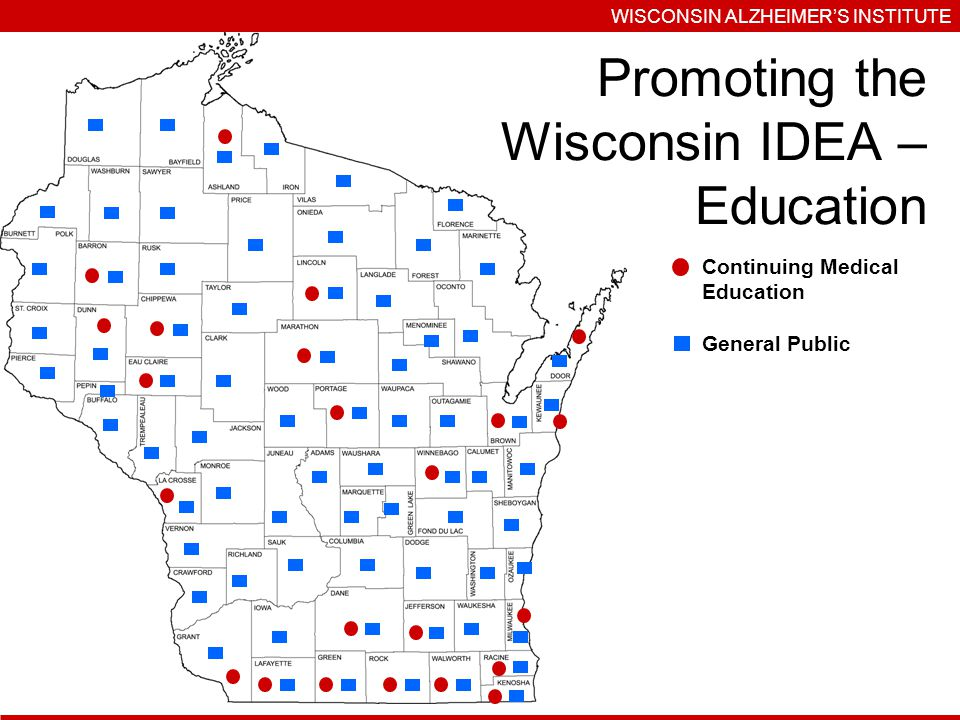 WISCONSIN ALZHEIMERS INSTITUTE Continuing Medical Education General Public Promoting the Wisconsin IDEA – Education