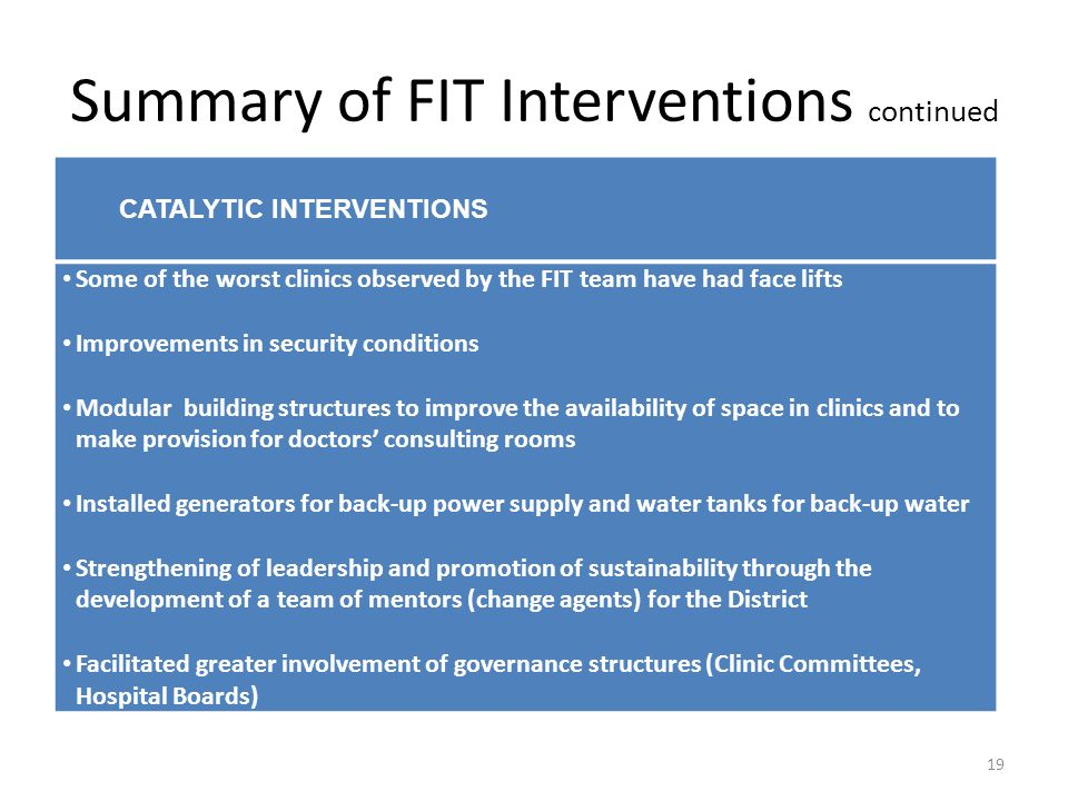 Summary of FIT Interventions continued 19 CATALYTIC INTERVENTIONS Some of the worst clinics observed by the FIT team have had face lifts Improvements