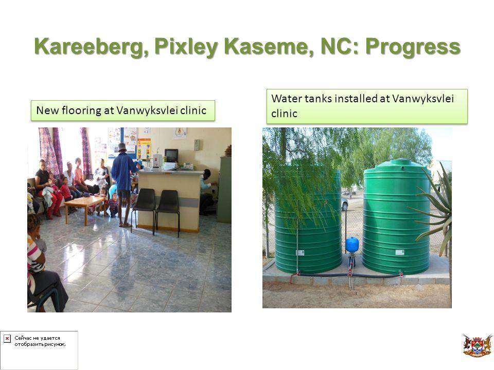 Kareeberg, Pixley Kaseme, NC: Progress Water tanks installed at Vanwyksvlei clinic New flooring at Vanwyksvlei clinic