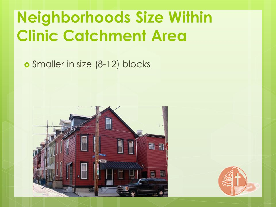 Neighborhoods Size Within Clinic Catchment Area Smaller in size (8-12) blocks