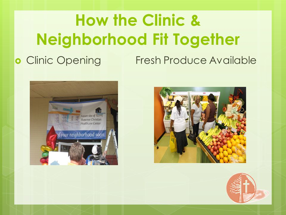 How the Clinic & Neighborhood Fit Together Clinic Opening Fresh Produce Available