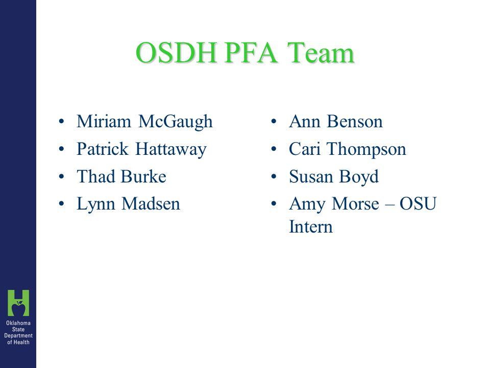 OSDH PFA Team Miriam McGaugh Patrick Hattaway Thad Burke Lynn Madsen Ann Benson Cari Thompson Susan Boyd Amy Morse – OSU Intern