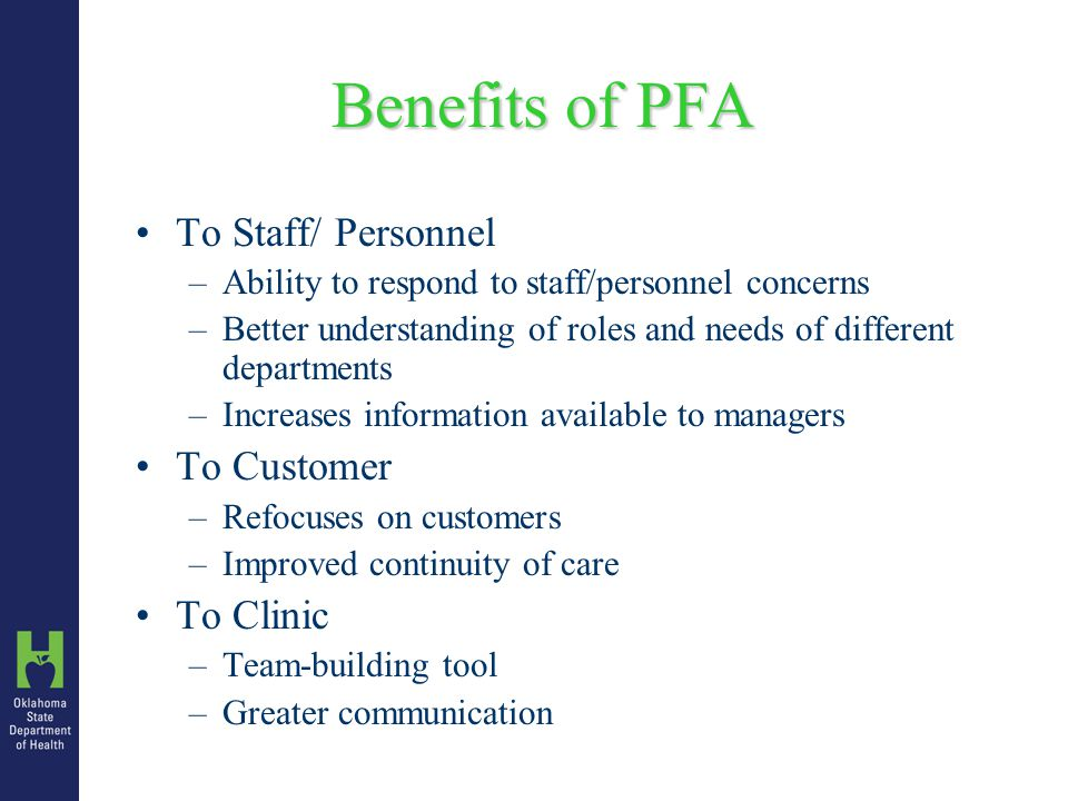 Conducting a PFA Editing Data Ensure that all required fields are complete Clear and legible Personnel Registers –Time in and out completed on all forms –Staff ID code matches Staff ID List Client Registers –All contacts: Staff ID, Task code, Time In & Out –Chronological Order Client Sign-in Sheet attached to Client Register