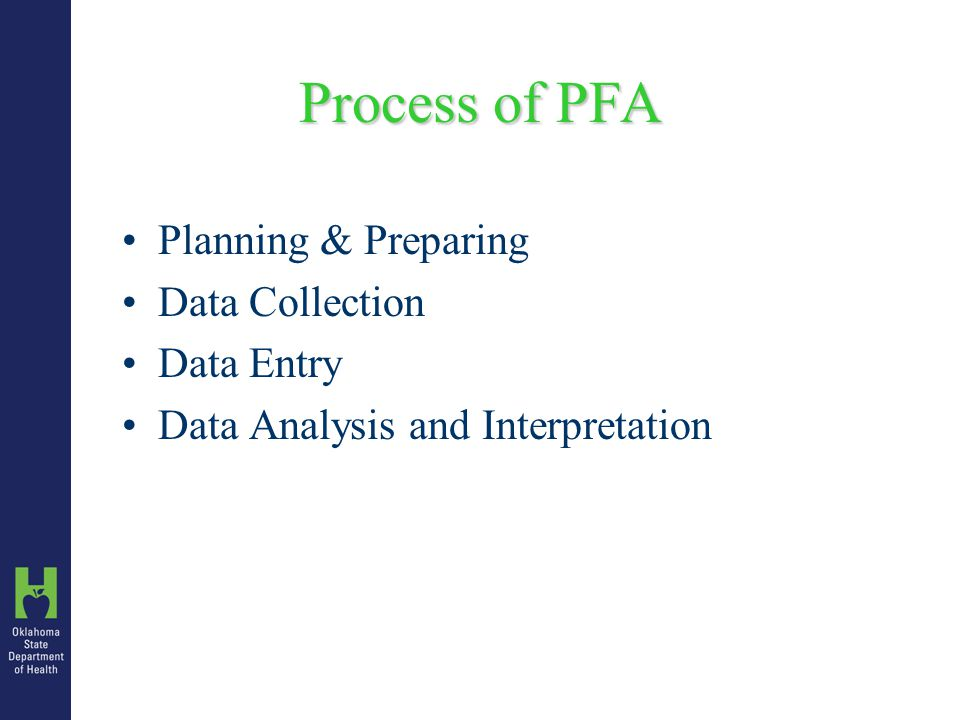 Process of PFA Planning & Preparing Data Collection Data Entry Data Analysis and Interpretation
