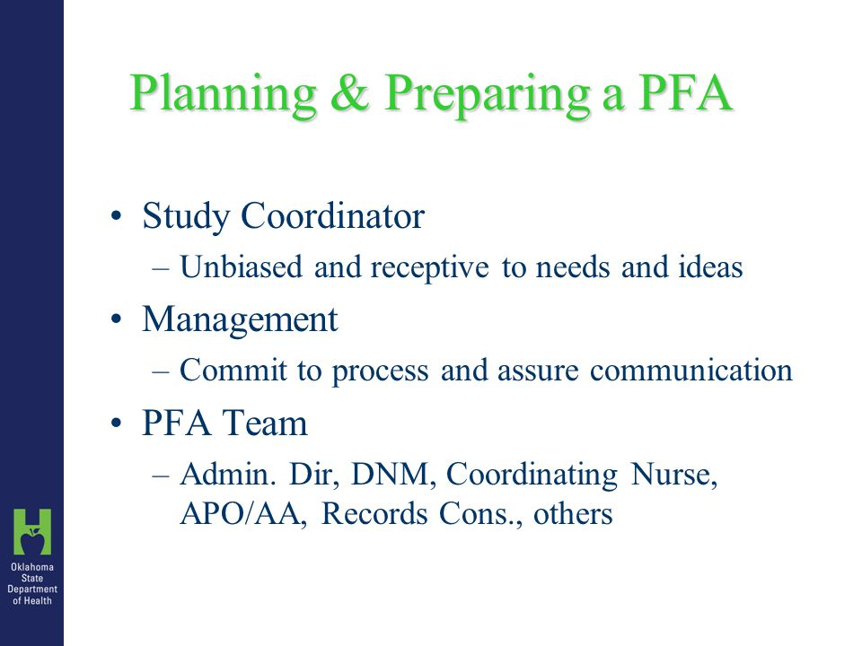 Planning & Preparing a PFA When and how will clients be entered on the sign- in sheet.