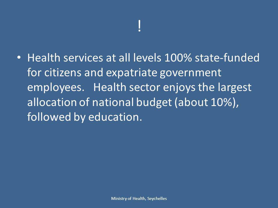 ! Health services at all levels 100% state-funded for citizens and expatriate government employees. Health sector enjoys the largest allocation of nat