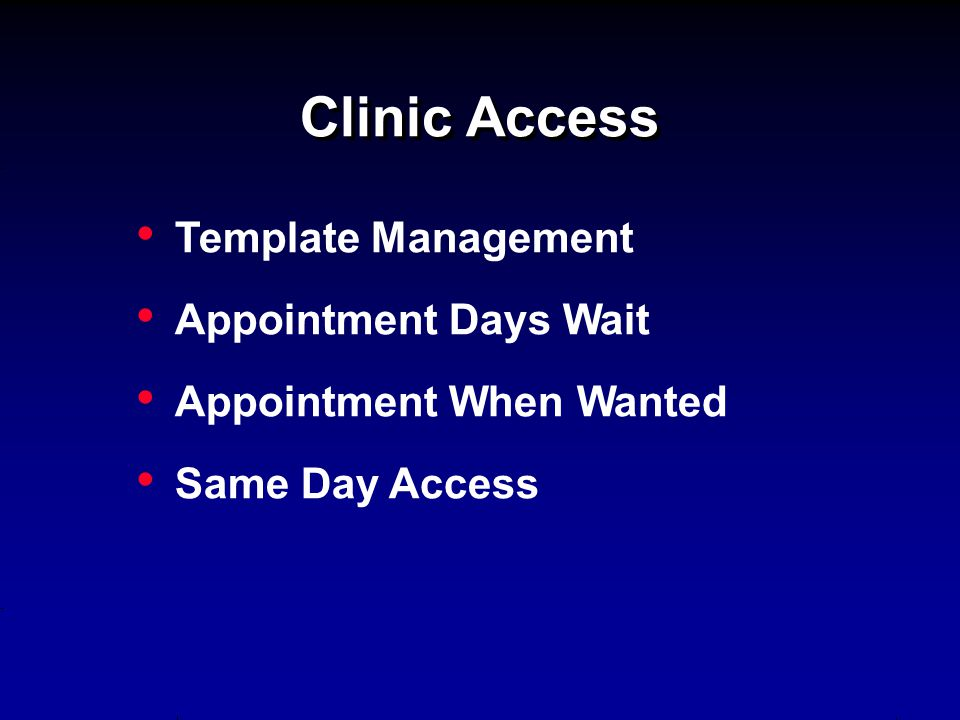Clinic Access Template Management Appointment Days Wait Appointment When Wanted Same Day Access