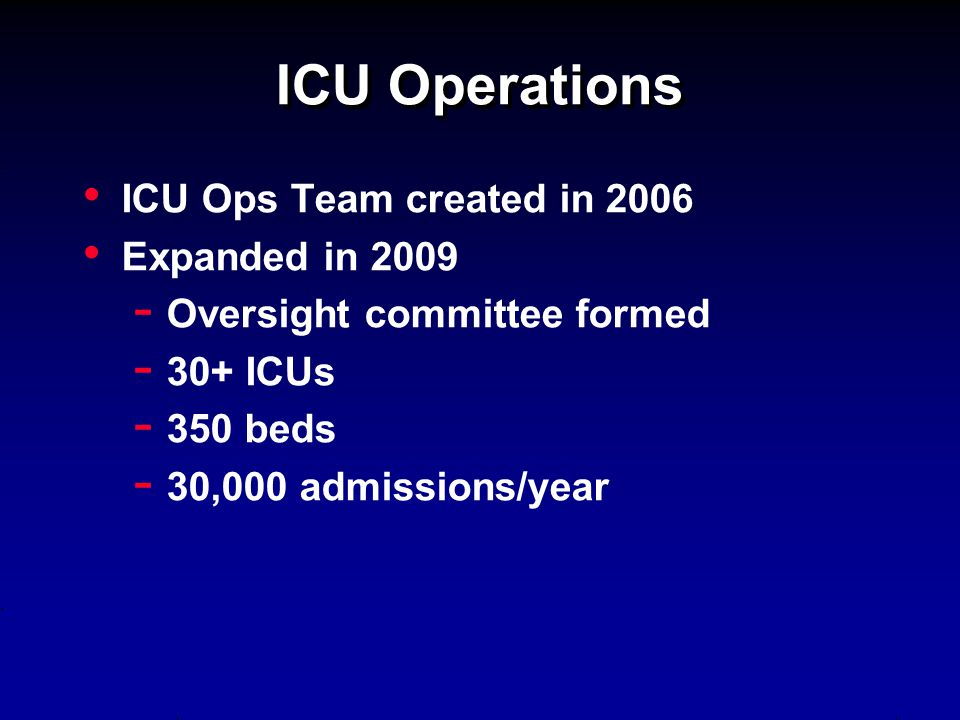 ICU Operations ICU Ops Team created in 2006 Expanded in Oversight committee formed ICUs beds ,000 admissions/year