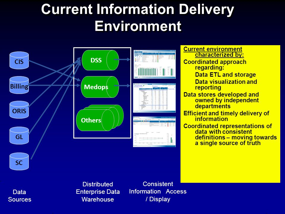 Others Current Information Delivery Environment CIS SC Billing ORIS GL Data Sources Distributed Enterprise Data Warehouse Consistent Information Acces