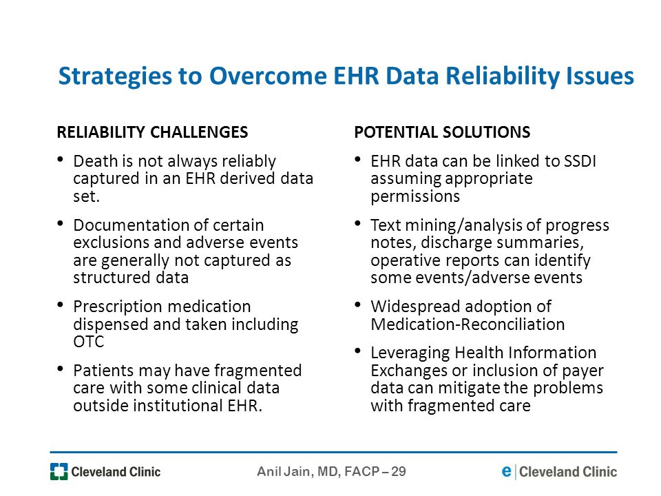 Anil Jain, MD, FACP – 29 Strategies to Overcome EHR Data Reliability Issues RELIABILITY CHALLENGES Death is not always reliably captured in an EHR der